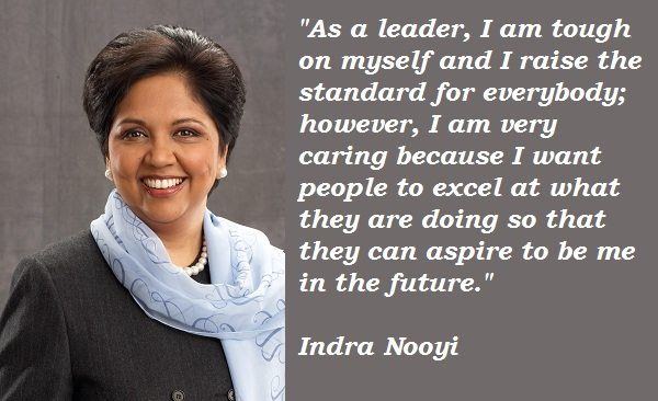 indra nyooi leader Indra nooyi (née krishnamurthy born 28 october, 1955) is an indian american business executive, serving as chairman of pepsico, the second largest food and beverage business in the world by net.